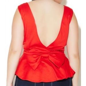 🎀Wet Seal Plus Open Back Bow Peplum Tank🎀